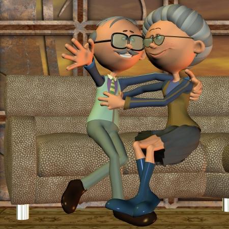 3D Rendering von ein altes Ehepaar auf dem Sofa als Illustration in der comic-Stil Standard-Bild - 9400574