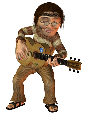 3D Rendering dancing hippie playing guitar photo