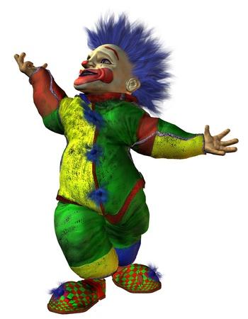 macabre: 3D macabre rendering dwarf clown Stock Photo