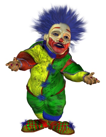 3D rendering freaky clown with an inviting gesture Stock Photo - 9486644