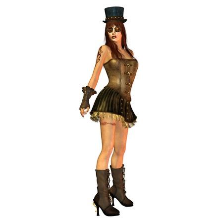 3D Rendering of a Steampunk Girl posing als illustration