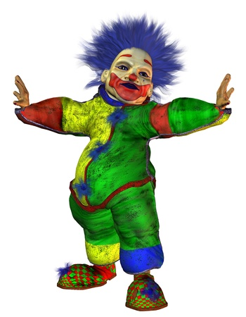 big belly: 3D Rendering ugly clown with big belly