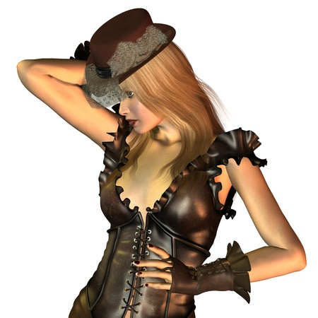 3d rendering of a blond Steampunk Lady posing as an illustration Stock Illustration - 9521750