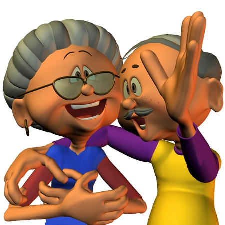 3d rendering of a senior citizen couple laugh as the illustration in the comic style