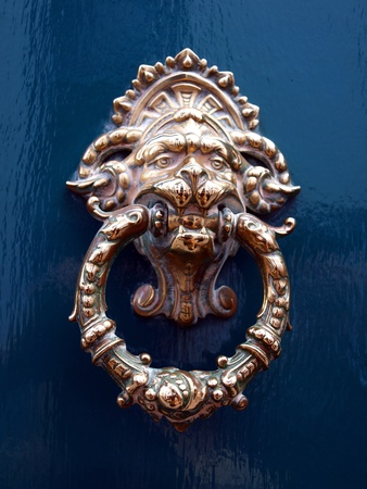 old door knocker as an animal head on a blue background photo