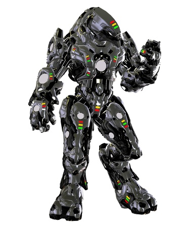3D rendering fighting robot from the future Stock Photo