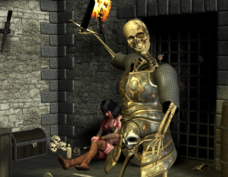 dungeons: 3D rendering skeleton warriors and wounded woman