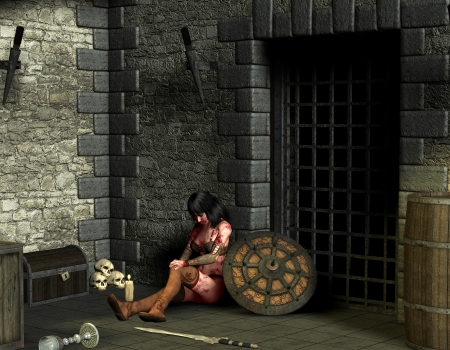 wounded: 3D rendering wounded woman in dungeon