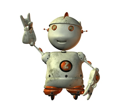 3D rendering of an old dirty robot Stock Photo - 9861192