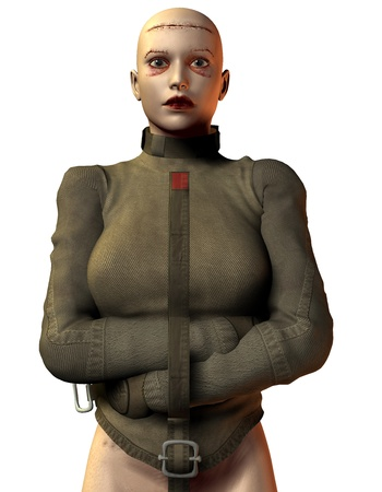 bald woman: 3D rendering of a bald woman in a straitjacket