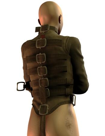bald men: 3D Rendering Man in straitjacket