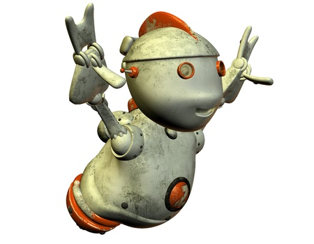 3D rendering of old defective robot Stock Photo - 9972073