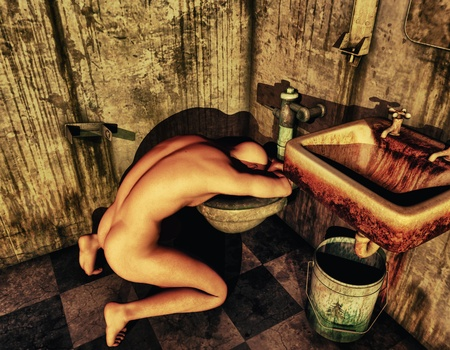 3D Rendering Naked man bending over a toilet Stock Photo - 9972074
