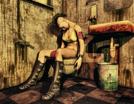 3D rendering drunken punk girl on a dirty toilet photo