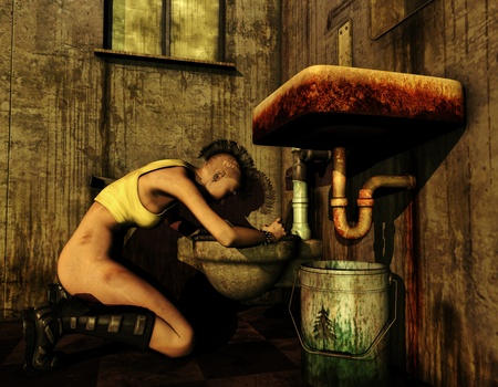 3D Rendering dirty punk girl bent over a toilet Stock Photo - 10000489