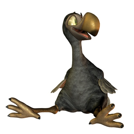ratite: 3D rendering sitting as a friendly cartoon dodo