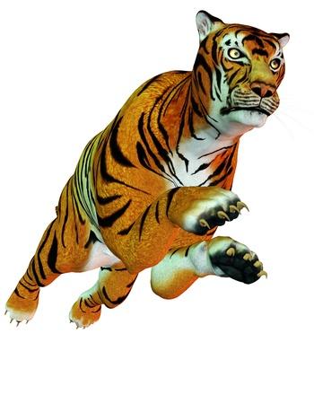 3D rendering dangerous predator jumping