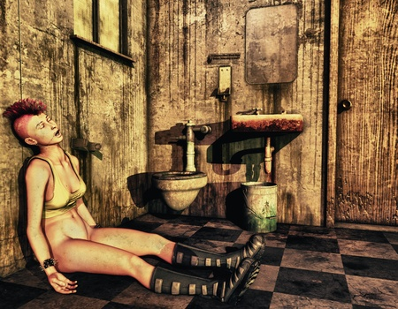 3D Rendering Punk girl lies on the toilet Stock Photo - 10050088