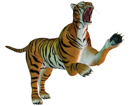 panthera: 3D Rendering aggressive cat with mouth open