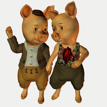 3d rendering of men's and women's pig than in the comic style illustration Stock Illustration - 10050100