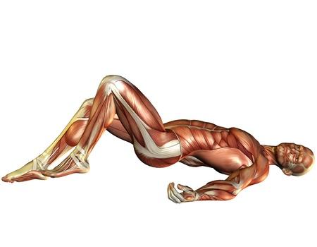 3D Rendering Muscle man lying Standard-Bild
