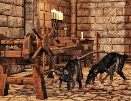 inquisition: 3D rendering monster rats in addition to a stretching rack