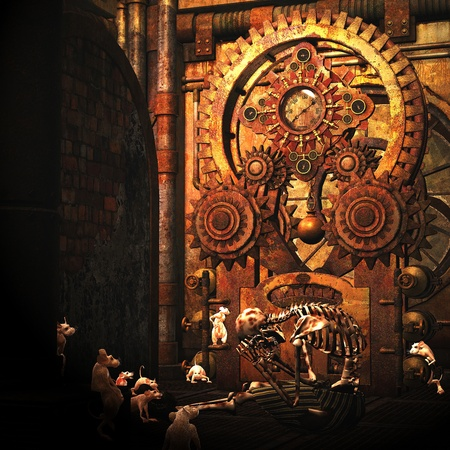 3d rendering of a skeleton with rats in an old building in the Steampunk style as an illustration