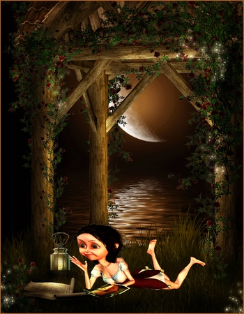 amorous: 3d rendering of an amorous girl in the candlelight as the comic-style illustration