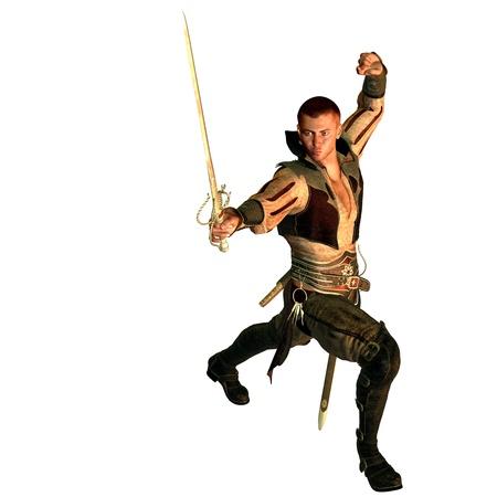 edad media: representación 3D de un noble en la lucha contra la pose como ilustración Foto de archivo