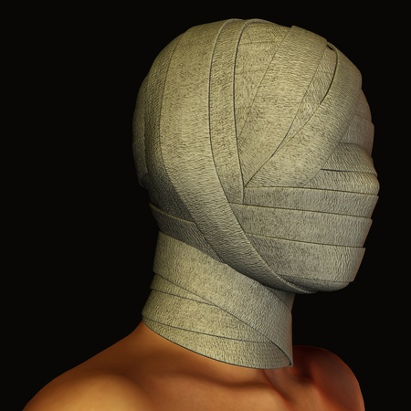 poser: 3d rendering a bandaged head as illustration