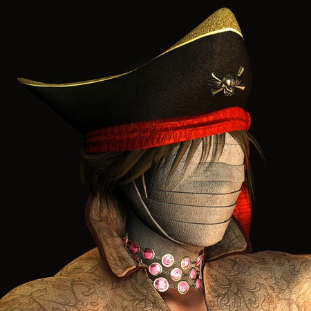 adventurers: 3d rendering of a mummy with a pirate hat as illustration Stock Photo