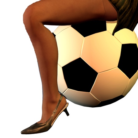 thigh: 3d rendering of a womans leg with a football as illustration