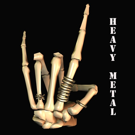 heavy metal music: 3d rendering of the heavy metal salute with lettering as illustration Stock Photo