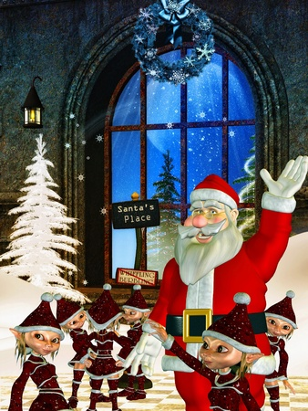 holiday gifts: 3d rendering of Santa Claus and his small helpers asl illustration in the comic style Stock Photo