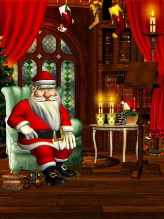 3d rendering of a living  of Santa Claus in comic style as illustration illustration