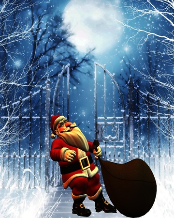snow scenes: 3d rendering of Santa Claus with sack draw as illustration Stock Photo