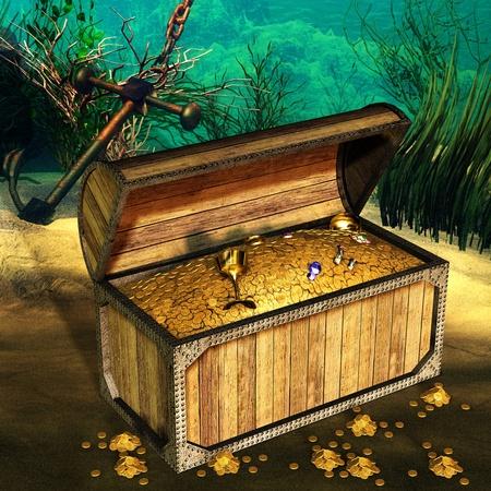 cofre del tesoro: Representaci�n 3D de un tesoro en el fondo del oc�ano como una ilustraci�n