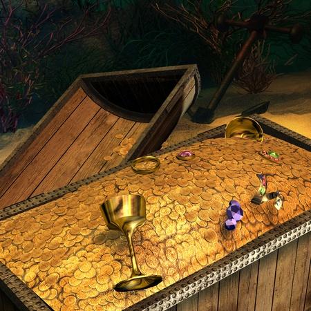 treasure hunt: 3d rendering of a treasure on the ocean floor as  illustration