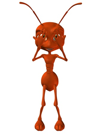 upright: 3D Rendering shy little ant