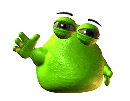 3D Rendering Small green blob monster photo