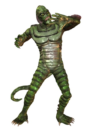 repelling: 3D Rendering Reptilian monster with Repelling gesture