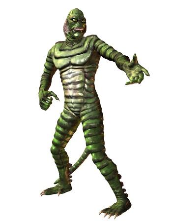 3D Rendering standing green reptilian monster