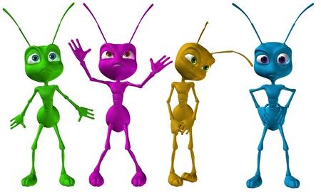 hormiga caricatura: 3D hormigas de renderizado colores peque�as Foto de archivo