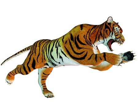 threatened: 3D rendering of a leaping tiger