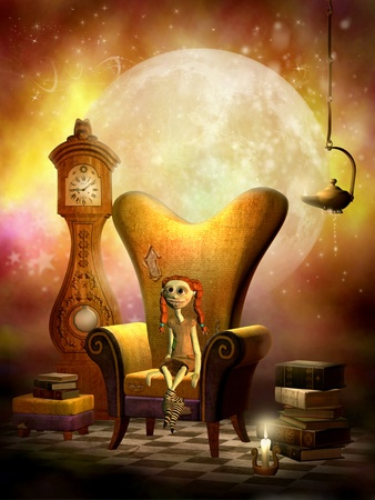 grandfather clock: 3d rendering of a rag doll in a chair with candlelight as illustration