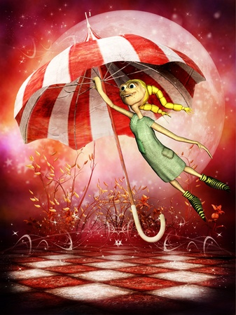rag doll: 3d rendering of a rag doll, which flies with a umbrella in the comic style as illustration