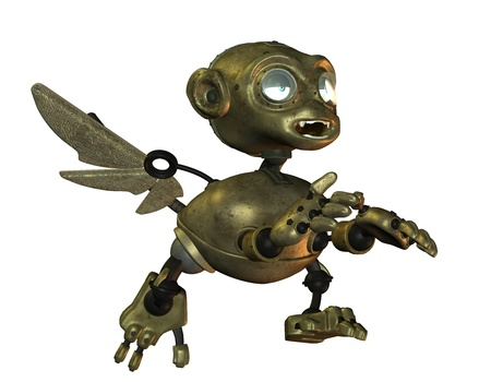 brutish: 3D Rendering ongoing iron monkey Stock Photo