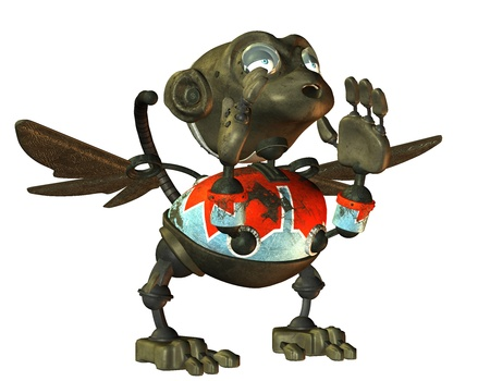 3D Rendering screaming monkey made of iron photo