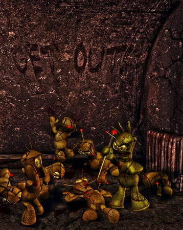 curse: 3d rendering of a massacre of voodoo dolls as an illustration in the comic style