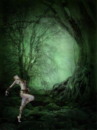 3D-rendering van een jonge vrouw die in het donker, mystiek bos danst als illustratie Stockfoto